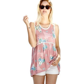 Sleeveless Bull head printed lace detail bamboo style casual top, Mauve