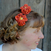 Eco-friendly head band orange flowers of upcycled fabric floral headband
