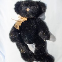 "Russ Berrie ""BIZZIE"" The Showbiz Bear Black Gold Sparkle #70374 Plush 14"" Rare"