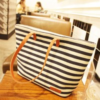 Navy Blue and White Striped Shoulder Bag