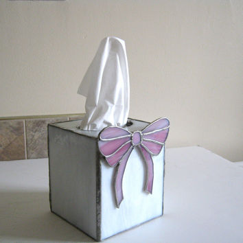 tissue box holder stained glass white pink bow by Nostalgianmore