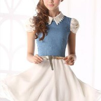 free belt lace collar denim white chiffon elegant dress l203 --- search for me in Marketplace