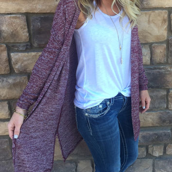 For Your Love Cardigan: Burgundy