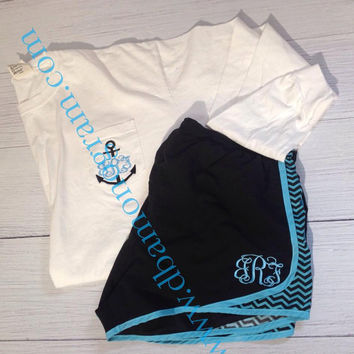 Monogram Runner Set, Monogram Pocket Tee, Monogram Run Shorts,   Monogram Athlectic Shorts - Monogram Shorts Ladies