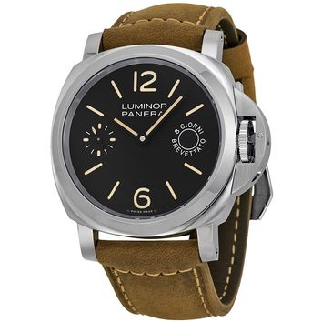 Panerai Men's Quartz Stainless Steel and Canvas Watch, Color:Brown (Model: pam00590)