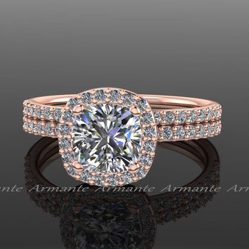Moissanite and Diamond Halo Wedding Rings Set 14K Rose Gold