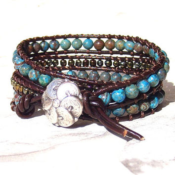 African Turquoise Leather Wrap Bracelet Dark Brown For Woman Triple Beaded