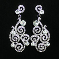Art Deco Pave Crystal Bridal Chandelier Earrings by JamJewels1