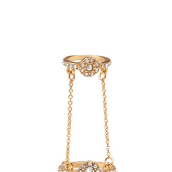 FOREVER 21 Chained Rhinestone Midi Ring Gold/Clear