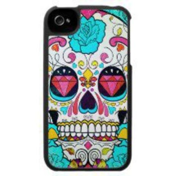 Sugar Skull and Blue Roses iPhone 4 Case