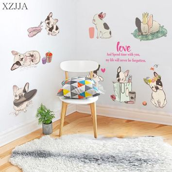 XZJJA Cute French bulldog Wall Sticker For Kid Rooms Home Kindergarten Classroom Cabinet Closet Decor Cartoo Dog Mural Art Decal