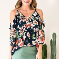 Floral Gates Cold Shoulder Top
