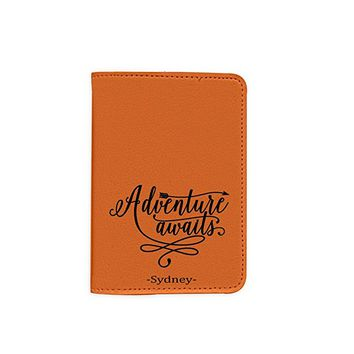 Adventure Awaits [Name Customized] Leather Passport Holder/Cover/Wallet_SCORPIOshop