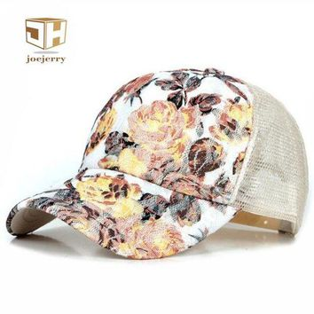 DCCKU62 joejerry New Girls Lace Baseball Cap Floral Summer Caps Polyester Mesh Sun Hats For Women Fitted