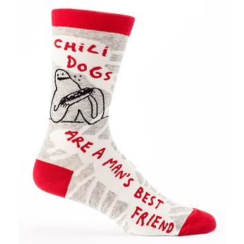 Chilidogs are a Man's Best Friend Men's Socks in Grey, White and Red