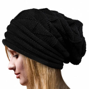 Beanie Women Hats Winter Velvet Knitted Casual Hats Crochet Beanie Hat Bonnet Femme Hiver#11