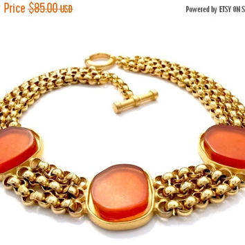 Roxanne Assoulin Multi-Strand Choker Necklace, Free Form Amber Glass Cabochons Gold Tone Mount, 3 Rolo Chains, Statement Piece, Signed