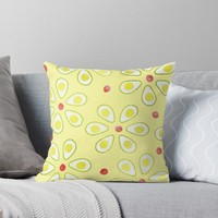 'Avocado Sunny Party Pattern' Throw Pillow by oursunnycdays