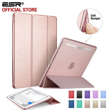 Case for iPad Air 2, ESR PU Leather Front Cover+Soft TPU Bumper Edge Stand color Auto Sleep Smart case for iPad Air 2 for iPad 6