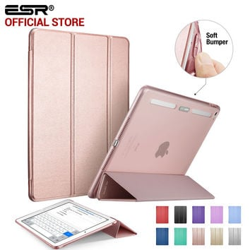 PU Leather Front Cover Soft TPU Bumper Edge Stand color Auto Sleep Smart Cover for iPad Air 2/iPad 6