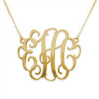 XXL Monogram Style 18k Gold Plated Custom Name Necklace