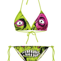 Women 's digital printing ms green zombie beach fission two-piece sexy bikini = 1955988932
