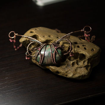 Butterfly wire wrapped necklace, copper jewelry, one of a kind, handmade jewelry
