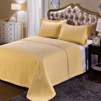 Luxury Gold Checkered Quilted Wrinkle Free Microfiber 3 Piece Coverlets Set