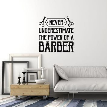 Vinyl Wall Decal Barber Quote Saying Barbershop Hair Salon Interior Stickers Mural (ig5995)