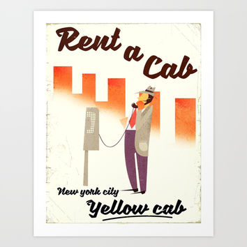 Hire a Cab! New York City Art Print by Nick's Emporium Gallery