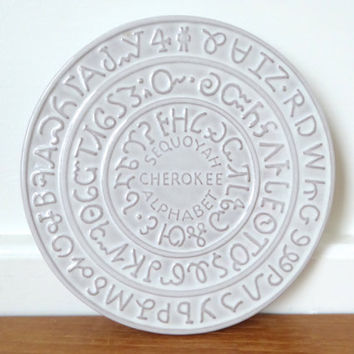 Frankoma Cherokee Sequoyah Alphabet trivet in excellent condition