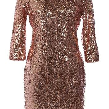 Paparazzi Fever Dress | Copper Sequin Party Dresses | Rickety Rack