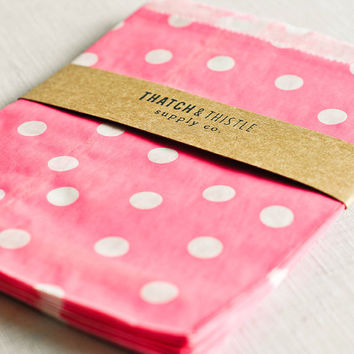 Paper Bags in Bright Pink Polka Dots - Set of 20 - 5x7 Party Favor Kraft Gift Wrapping Invitations Packaging Embellishment Sacks Merchandise