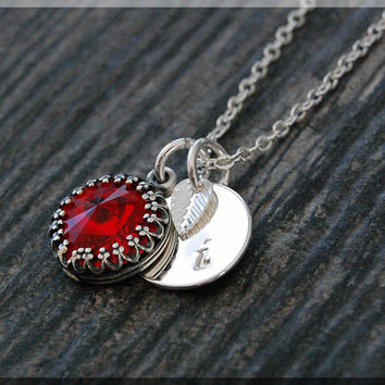 Silver Ruby July Birthstone Necklace, Initial Charm Necklace, Personalized Necklace, July Birthstone Charm. Swarovski Ruby charm