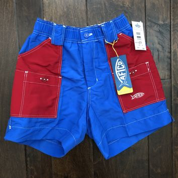 AFTCO - Youth Boys Fishing Shorts - Color Block Royal and Red
