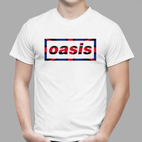 New OASIS UK Flag Logo British Rock Band Men's White T-Shirt Size S - 3XL