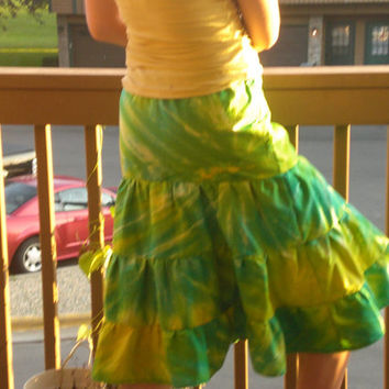 Green and Yellow Tie-Dye Knee Length Tiered Skirt