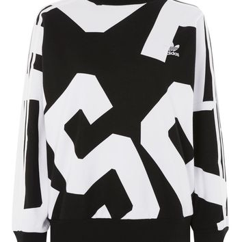 **Letter Print Crew Sweatshirt by adidas Originals
