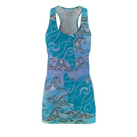 Tribal Manta Ray Tie Dye Watercolor Ocean Spray Cut  Sew Racerback Dress