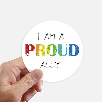LGBT Rainbow PROUD ALLY Round Stickers 10cm Wall Suitcase Laptop Decal 8pcs