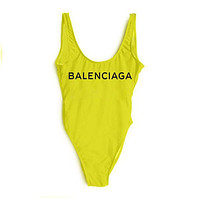Balenciaga 2018 New Women's Sexy Fashion Siamese Bikini Swimsuit F-ZDY-AK yellow