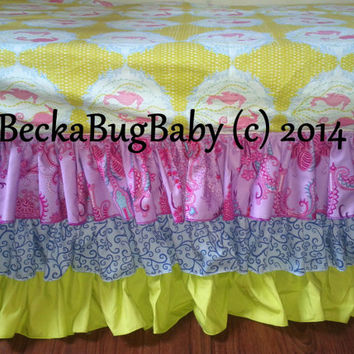 CLEARANCE 50% OFF Seahorse Crib Bedding Set Fitted Sheet and 3 Tiered Ruffled Skirt Ready to Ship  by BeckaBugBaby on Etsy