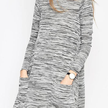 Gray High Neck Pocket Detail Long Sleeve Shift Dress