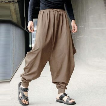 Men Women Japanese Samurai Style Boho Casual Low Drop Crotch Loose Fit Harem Baggy Hakama Capri Cropped Linen Pants Trousers 5XL