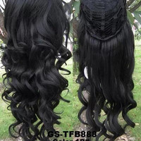 3/4 Half Hair Extensions,Body Wave Wigs ,Synthetic Hair Extensions,Heat Resistant Brown Blonde Clip in Hair Extensions U pick 200g 1B#