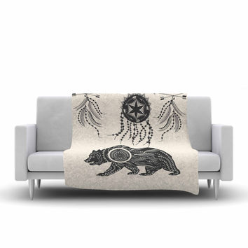 "Famenxt ""Boho Ornate Bear"" Beige Black Fleece Throw Blanket"