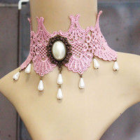 pink venice lace necklace, charms collar, beads charms choker, vintage style necklaces, wedding bride jewelry, cosplay jewelry