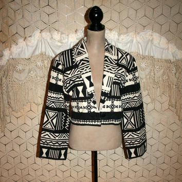 90s Vintage Tribal Jacket Women Woven Tapestry Cropped Jacket Coat Western Cowgirl Southwestern Black White Medium Large Vintage Clothing