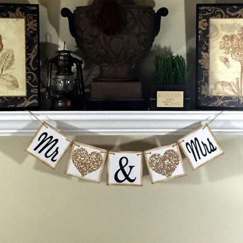 Mr and Mrs Banner, Wedding Photo Props, Wedding Reception Decor, Wedding Photo Thank you cards