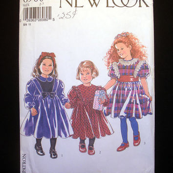 Girls PARTY HOLIDAY DRESS Sizes 2 - 7 Simplicity New Look 6980 Sewing Pattern Uncut